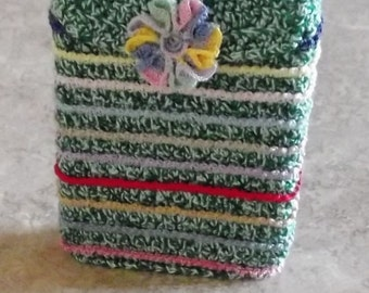 Bonnie's -OOAK Standard Size Crochet Cotton Thread Item Playing Card Case  Stripes & Snap Flower Closure @ cyicrochet