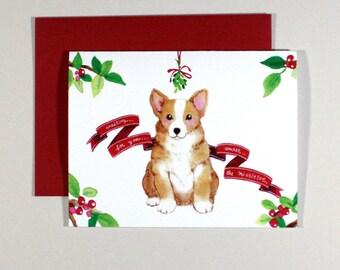 Holiday Corgi Card // Christmas Card, Xmas Card, Holiday Card, Dog Card, Corgi Card