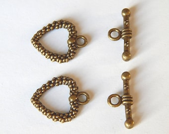 2 place mats clasp toggles bronze heart 19 x 16 mm