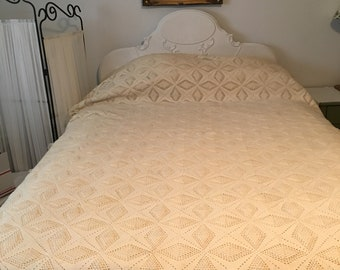 Twin Bed Crocheted Bedspread-Excellent