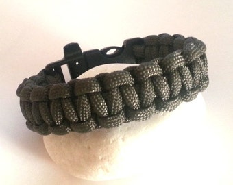 Survival bracelet with whistle macrame 2.5 m , hunting, fishing , mountain , sky diving or survival