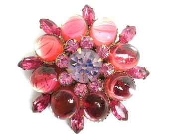Vintage Shades of Pink Cabochon Navette Rhinestone Flower  Gold Tone Filigree Dome Shaped  Pin
