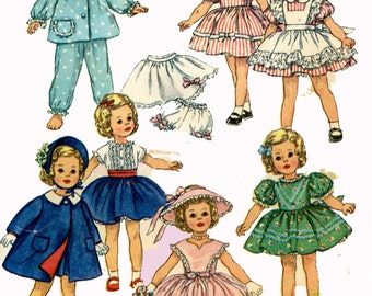 Vintage Doll Clothes PATTERN 3217 for 19 in Shirley Temple Judy Garland by Ideal