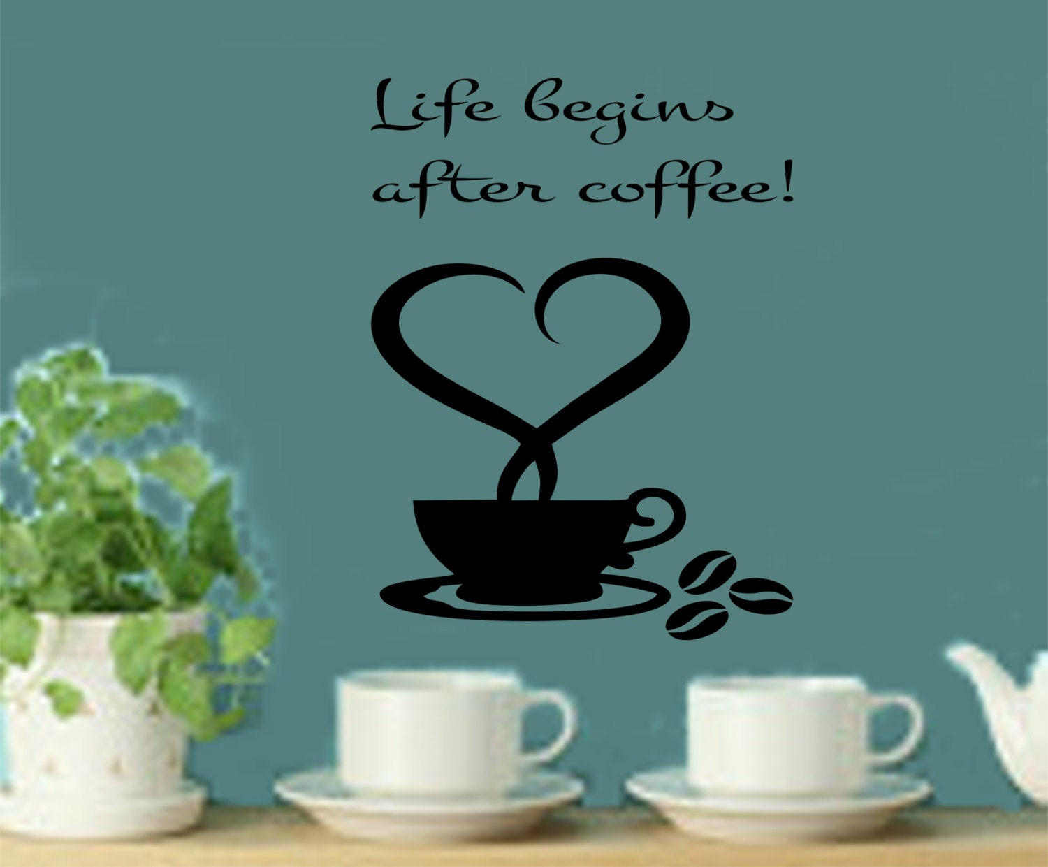 Kitchen Wall Decal   Life Begins After Coffee Kitchen Wall Decal   Kitchen  Decor   Coffee Decal  Coffee Decals  Coffee Wall Decals
