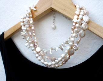 Keshi Pearl and White Pearl Multi Strands 925 Silver Statement Necklace, Keishi Pearl Bib Necklace, June Birthstone