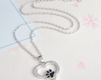 Heart with Dog/Cat Paw Print Necklace