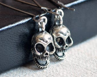 Skull Earrings, Antiqued Silver, Halloween Jewelry, Skeleton Beads, Gunmetal Kidney Earwires, Dangle Earrings, Scary Costume Accessory