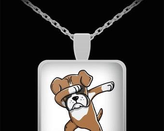 Dabbing Boxer Necklace - Boxer Dog Pendant - Funny Dog Dab Jewelry Gift