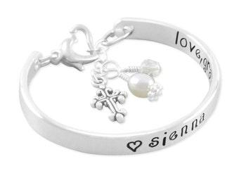 Name Bangle Bracelet, communion bracelets engraved silver, baptism christening gift, cross charm bracelets little girl, personalized, SIENNA