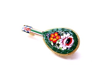 Gorgeous Unsigned Gold Tone Musical Guitar or Mandolin Colorful Green, White, & Orange Floral Vintage Italian Glass Micro Mosaic Brooch