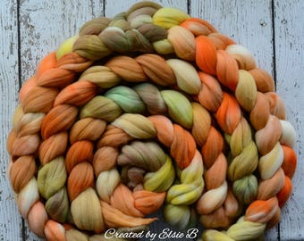 SALE*** Rambouillet 'Pumpkin' 4 oz spinning fiber, hand dyed roving, dyed wool top, roving by the pound, CreatedbyElsieB combed top, orange