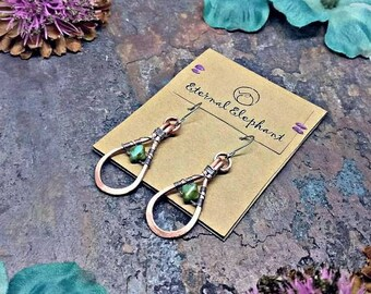 Copper Dangle Earrings, Teardrop Earrings, Copper Wire Jewelry, Copper Wire Earrings, Wire Wrapped Earrings