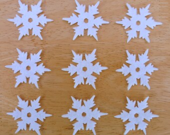 Snowflake Set #10, 10 x Iron on Felt snowflakes appliques (1 design), Made to order, choose your colours, Christmas, ships from UK