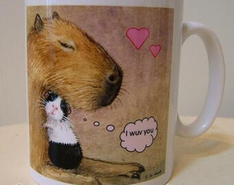 Guinea Pig and Capybara art ceramic mug, Little and Large, cavy, coffee, tea, from original painting design English artist Suzanne Le Good