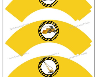 Construction Cupcake Wrappers – Digital Download – Construction Party