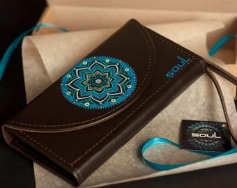 Wallet women. Womens leather wallet. Brown leather wallet. Original wallet. Big leather wallet. Handmade. Painting.Mandala.Art.FREE SHIPPING