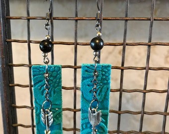Embossed Turquoise Leather Bars with Arrows