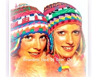 Knitting Hat Pattern - Ear Flap Ski Cap - Peruvian Hat Design - Helmet - PDF Instant Download - knitting pattern yarn - crochet pattern vtg