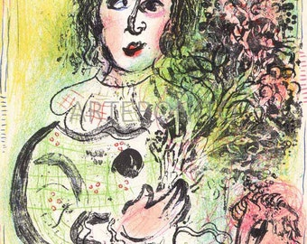 """Chagall  """"The Clown with Flowers""""  Original Lithograph 1963 -b"""