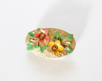50s floral brooch - enamel flower gold toned brooch - 1950s vintage costume jewelry