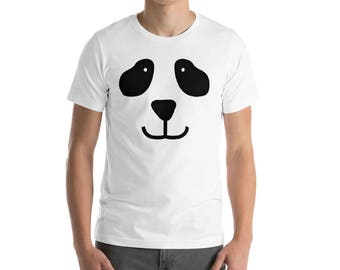 Panda Face T-Shirt Bear Shirt Costume Cute Animal Shirts Unisex Adult Panda Bear Gifts Gift for Teen Daughter Son Mom Dad Aunt