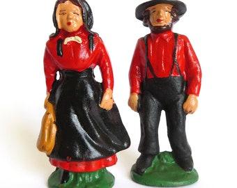 Dollhouse Miniatures Vintage Cast Iron Metal Pioneer Amish Quaker People , Man Woman Farmers