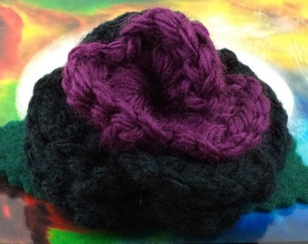 Crocheted Rose Barrette - Purple and Black (SWG-HB-HEHE02)