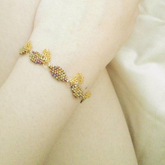 Bohemian Gold Bracelet, Beaded Gold Bracelet, Gold Tassel Bracelet, Chain Tassel Bracelet, Boho Luxe, Exotic, OOAK