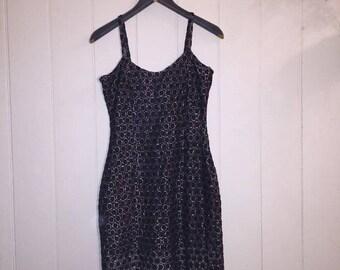 80's/90's Black and silver mini dress -Size S
