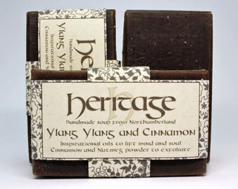 Natural Handmade Ylang Ylang & Cinnamon Soap bar. Vegan Soap. Luxury Oil blend. Organic infusions. Cocoa butter. Shea butter. Olive Oil.