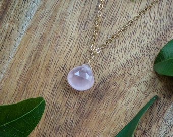 Tiny Rose Quartz Necklace - Small Rose Quartz Faceted Teardrop Necklace - Natural Pink Crystal Necklace - January Birthstone Necklace