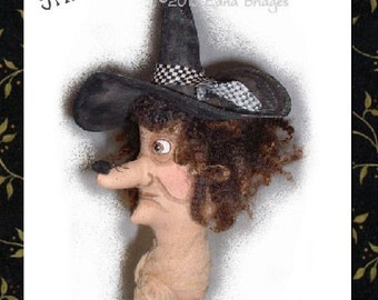 Primitive Folk Art Spider Fright Witch Doll Halloween Ornament Instant Download PDF EPattern
