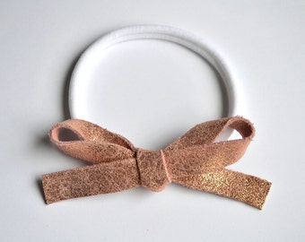 OVERSIZED Rose Gold Metallic Leather Bow Headband Adorable Photo Prop for Newborn Baby Little Girl Child Adult Summer Headwrap Pretty Bow