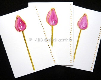 Original watercolour pink flowers handmade art cards blank greeting cards note cards with envelopes
