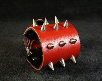 FREE SHIPPING! Spiked red leather bracelet for rockers, punk, goth, heavy metal