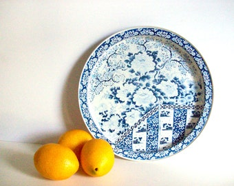 Blue and White Tin Tray, Vintage, Mid-Century, Ming Pattern, Chinoiserie Chic, Retro Serving Tray, Cocktail Tray, Asian Design