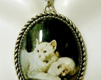 Two white cat portrait pendant with chain - CAP09-064