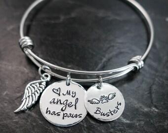 Pet Memorial Jewelry / Charm Bracelet / My angel has paws / Wire Bangle / Pet Memorial Bracelet / Loss of Pet / Wire Bangle