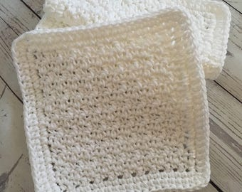 White Wash Cloths Kitchen Cotton Dish Cloths Baby Cloths Crochet Wash Cloth Set of 3