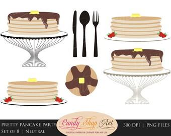 Pancake Clip Art, Pancake Clipart, Breakfast Clipart, Pancakes on a Platter