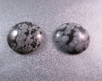 Snowflakes Obsidian Cabochons 2pcs