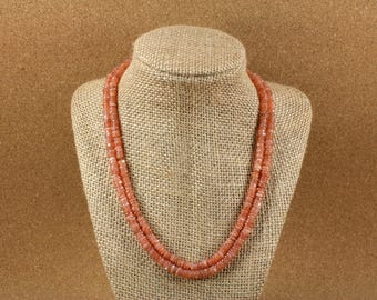 Moonstone Smooth Round Heishi Beads - Peach Shiny Beads, 5mm, 14 inch strand