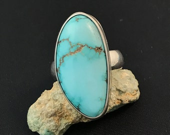 Reserved, Turquoise and Sterling Silver Ring, AAA Gem grade, natural , untreated, pre 1980's, old stock, rare, handmade