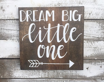 Dream Big Little One Wood Sign // Woodland Nursery Decor // Hand Lettered // Hand Painted
