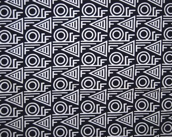 Navy Blue African fabric seamless Art Deco Geometric Africa African wax print Tribal fabric Gonfreville ethnic African home decor
