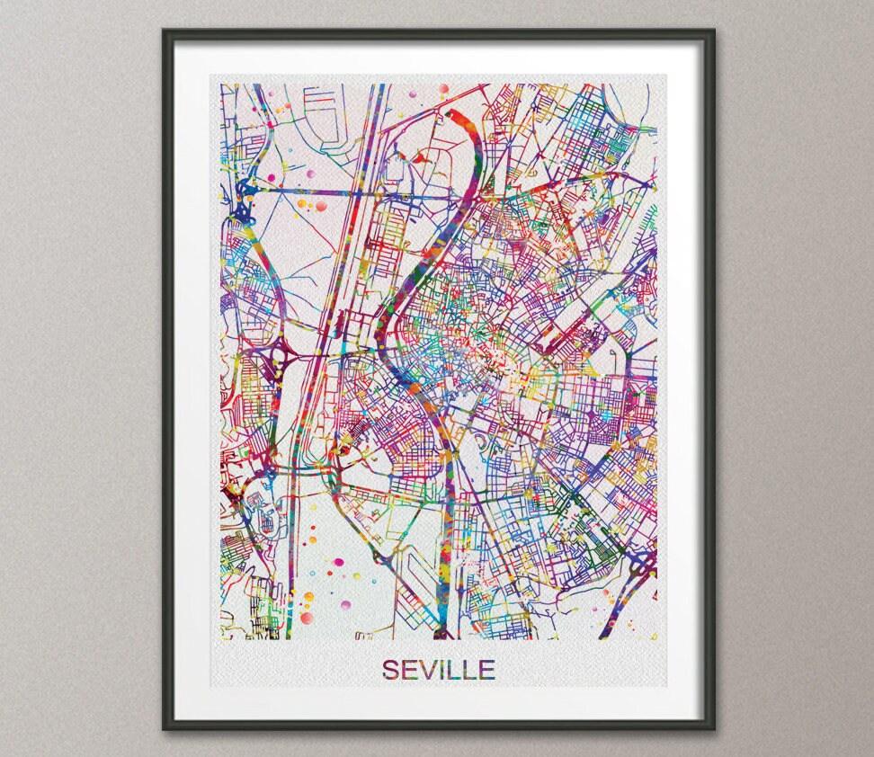 Seville Map Sevilla Watercolor Print Seville Street Map