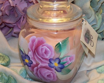 Hand Painted Ribbon and Rose Candle Jar with Country Garden Type Fragrance