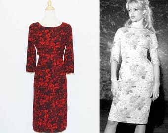1950s Red Black Floral Flannel Sheath (Wiggle) Dress