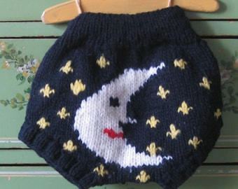 Wool Soaker Cloth Diaper Cover Moon & Stars Hand Knitted Wool Nappy Cover by Llamajama