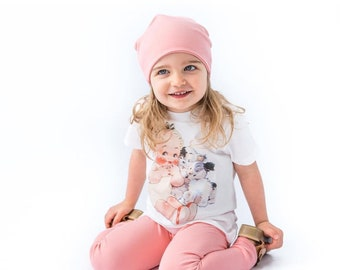 Pink Organic Slouch Cap Hat. Cool organic cotton hat in sizes preemie to 6 years. Seven color options available.